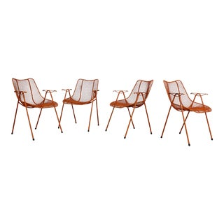 Set of 4 Woodard Sculptural Mesh Mid-Century Modern Dining Chairs For Sale