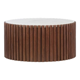 Wood Slat Concrete Top Coffee Table For Sale