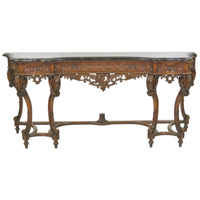 Marbletop Carved Mahogany Console - Image 1 of 8