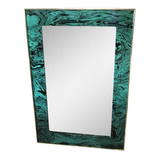 Vintage Faux Malachite Green & Brass Wall Mirror For Sale