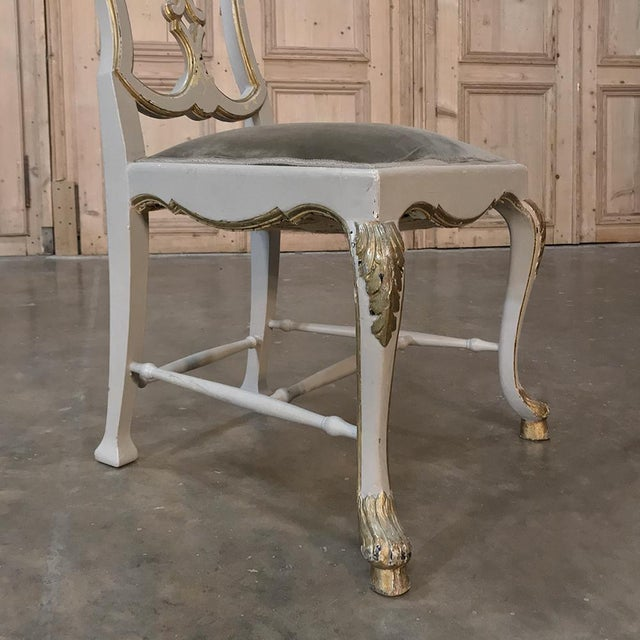 Baroque Eight 19th CenturyPainted and Gilded Italian Dining Chairs- Set of 8 For Sale - Image 3 of 13
