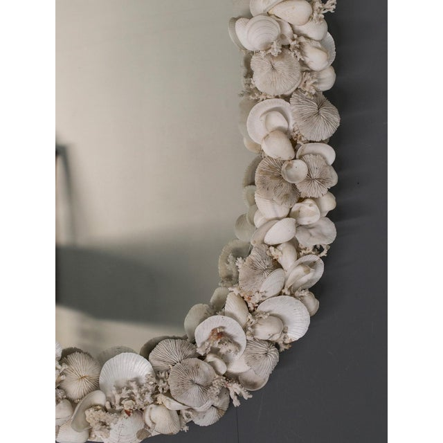 Vintage French Shell Encrusted Oval Mirror circa 1950 For Sale - Image 4 of 9