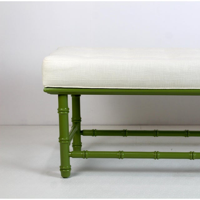 Green Mid Century Faux Bamboo Green Bench For Sale - Image 8 of 11