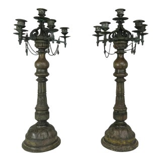 Pair of French Carved Wood and Cast Bronze Candlesticks For Sale