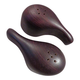 Mexican Mahogany Cocobolo Wood Salt & Pepper Shakers - A Pair For Sale