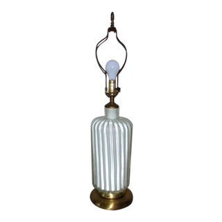 Ribbed Murano Cased Glass Table Lamp For Sale