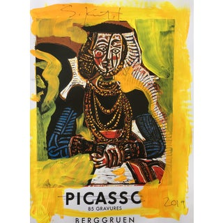 Abstract Framed Picasso Poster Painting by Sean Kratzert 'Yellow Lady' For Sale