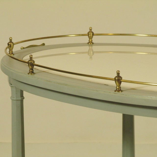 Brass English Gray Painted Tea Cart For Sale - Image 7 of 11