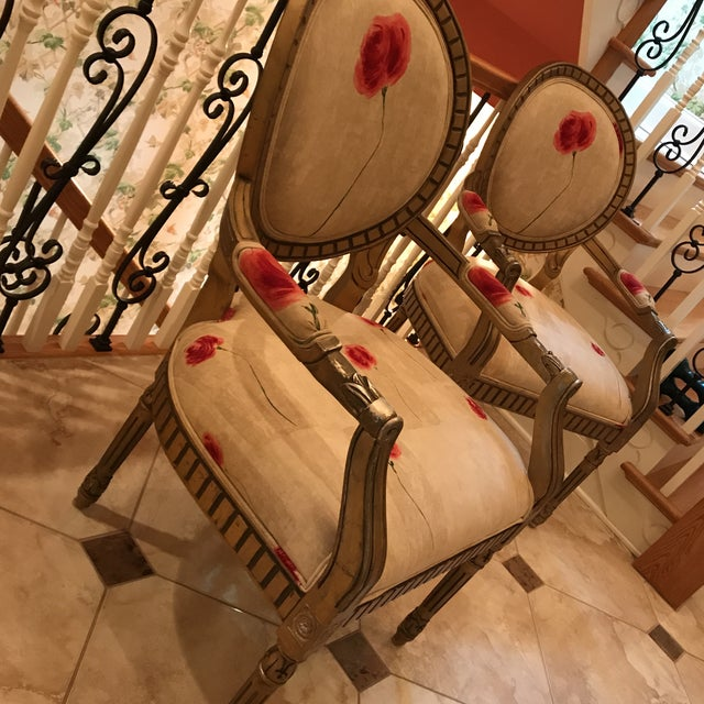 Rose Upholstered Arm Chairs - A Pair For Sale In Philadelphia - Image 6 of 11