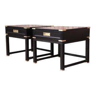 Hollywood Regency Campaign Black Lacquered Nightstands Attributed to Ficks Reed, Newly Restored For Sale
