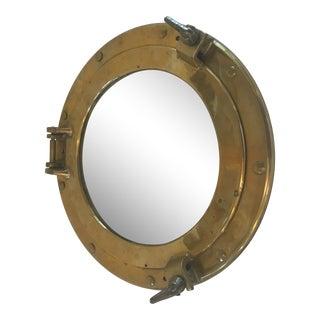 Vintage Brass Porthole Mirror For Sale