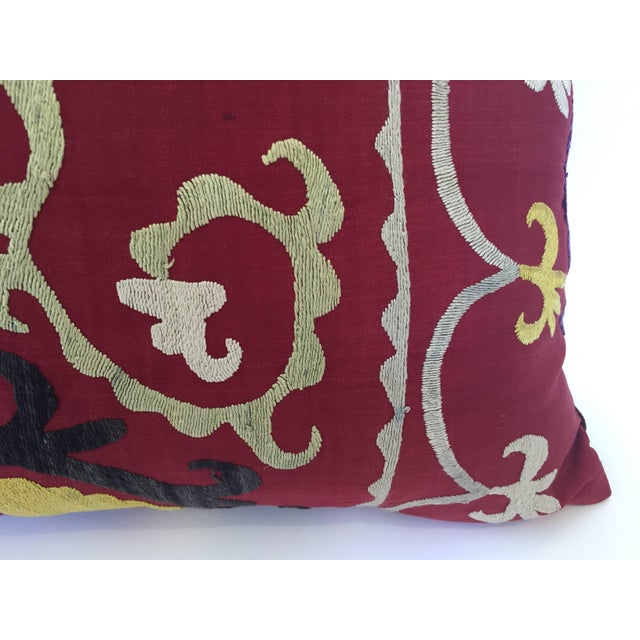 Pink Large Vintage Colorful Suzani Embroidery Throw Pillow From Uzbekistan For Sale - Image 8 of 13
