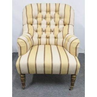 Regency Chesterfield Style Striped Club Chairs - a Pair Preview
