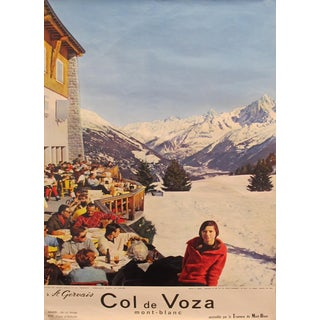 1962 Original French Travel Poster - Col De Voza - Mont Blanc For Sale