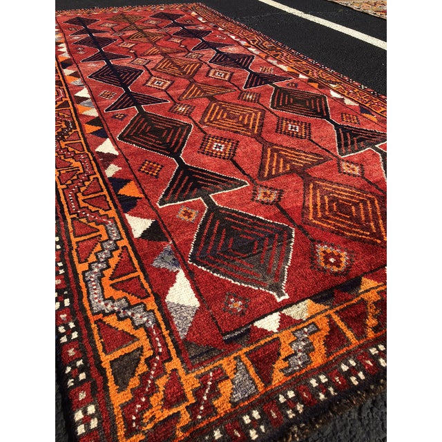 "1960s Vintage Persian Qashghi Rug - 4'2""x9' For Sale - Image 5 of 13"