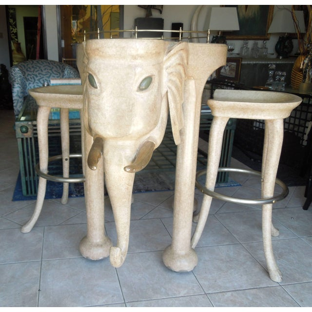 Rare Three Piece 1980s Elephant Bar Table and Stools by Marge Carson For Sale In Palm Springs - Image 6 of 7