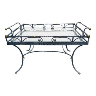 Campaign Wrought Iron Galley Coffee Table For Sale
