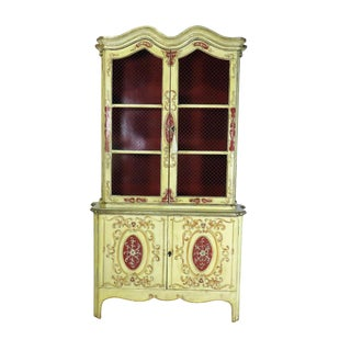 1940s Venetian Painted Cabinet Bookcase For Sale