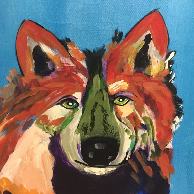 L. Burris Abstract Wolf Acrylic Painting - Image 3 of 6