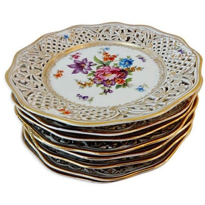 Antique Set of Dresden Plates - 8 For Sale