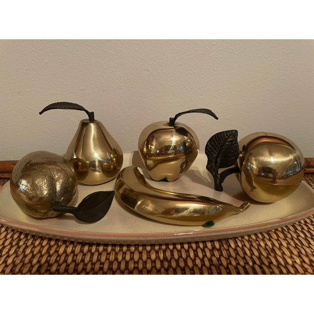 1990s Vintage 1990s Brass Fruit - 5 Pieces For Sale - Image 5 of 8