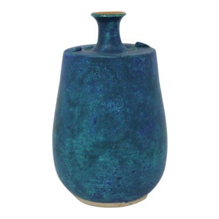 Vintage Teal Ceramic Vase For Sale