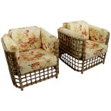 Image of Suite of Willow Reed Bamboo Chairs and Ottoman by Henry Olko For Sale