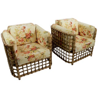 Suite of Willow Reed Bamboo Chairs and Ottoman by Henry Olko For Sale