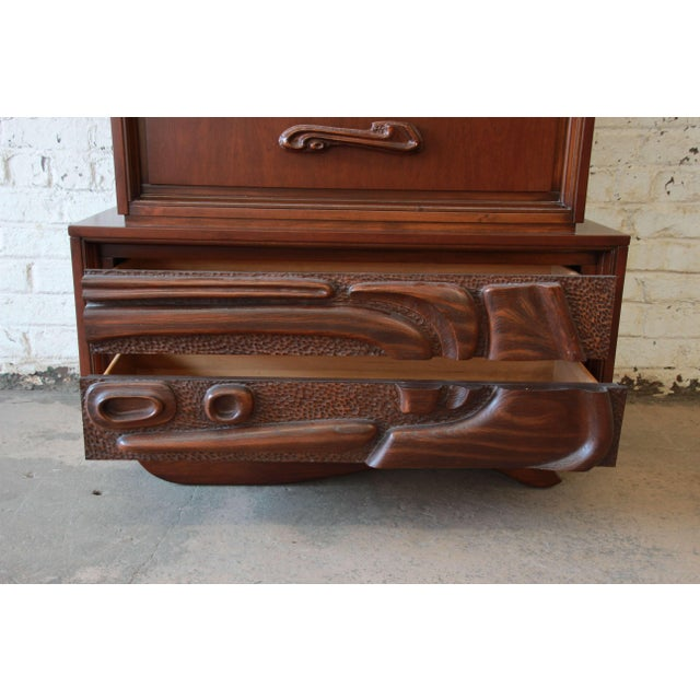 Mid-Century Sculptural Highboy Dresser in the Style of Philip Lloyd Powell For Sale - Image 10 of 11