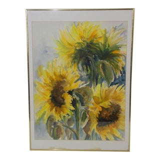 Vintage Floral Sunflowers Watercolor Painting For Sale