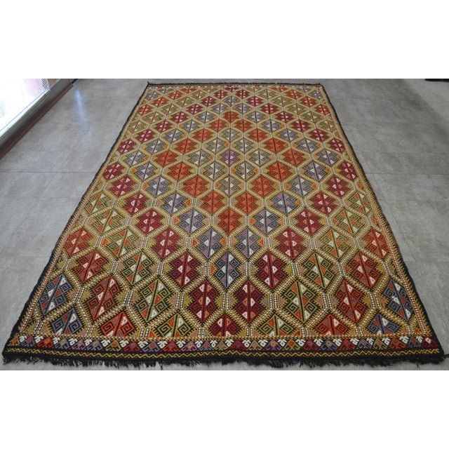 Traditional Vintage Turkish Kilim Rug Hand Woven Braided Jajim Rug - 66″ X 116″ For Sale - Image 3 of 10