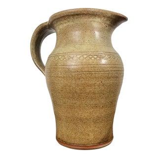 Vintage Mid-Century Stoneware Studio Pottery Ceramic Pitcher For Sale