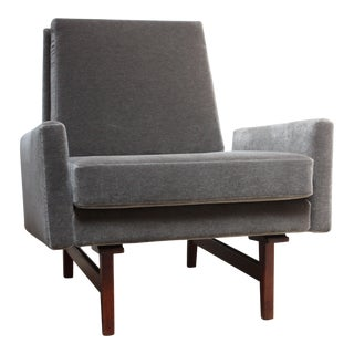Early Jens Risom Walnut and Mohair Lounge Chair For Sale