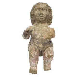 Large Antique Continental Carved Wood Putto Figure For Sale