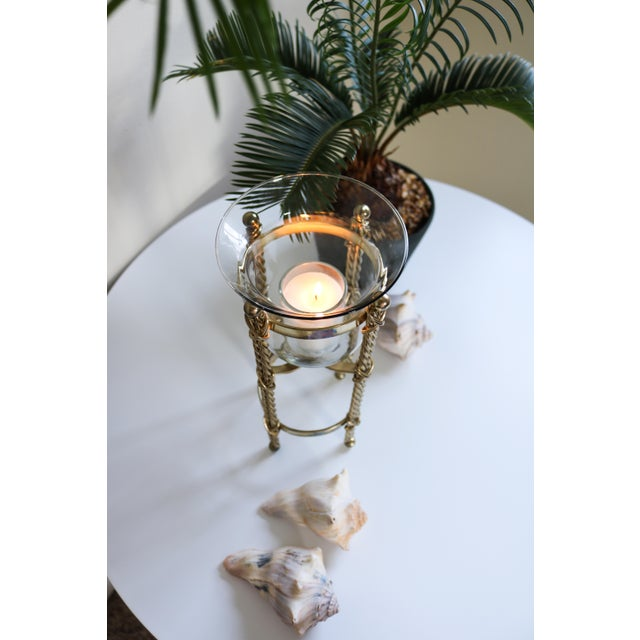 Mid-Century Tall Brass & Glass Candleholder For Sale - Image 6 of 13