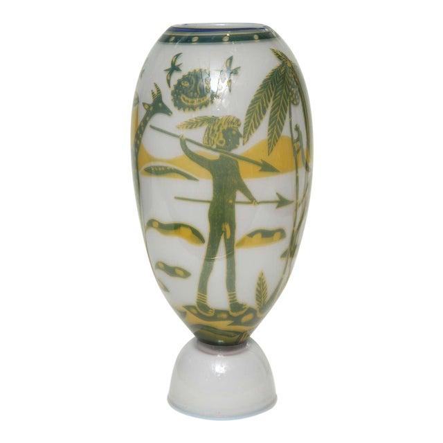 Swedish Studio Glass Vase by Wilke Adolfsson For Sale