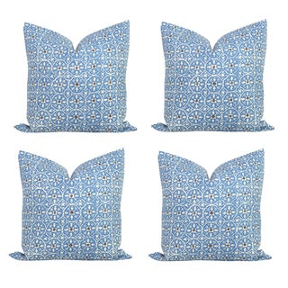 Quadrille French Blue & Brown Pillow Covers - S/4 For Sale