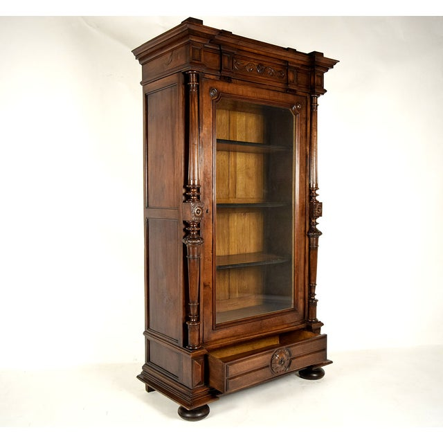 Antique French Single Door Walnut Bookcase For Sale - Image 4 of 9