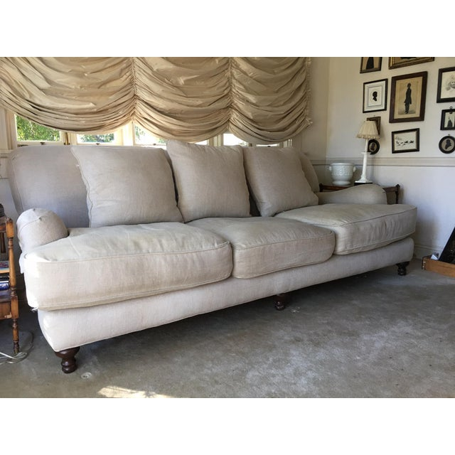 Fine Restoration Hardware Sand Linen English Roll Arm Sofa Home Interior And Landscaping Ologienasavecom