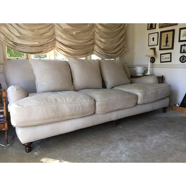Phenomenal Restoration Hardware Sand Linen English Roll Arm Sofa Download Free Architecture Designs Crovemadebymaigaardcom