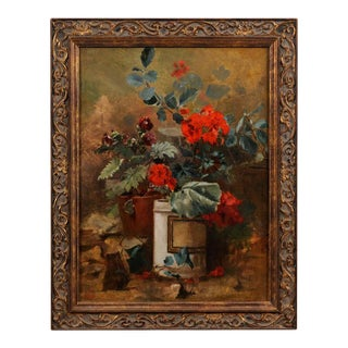 Mid 19th Century French Floral Still Life Oil Painting, Framed For Sale