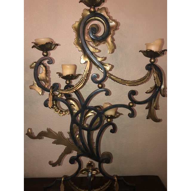 Theodore Alexander 18th Century Rococo Style Iron and Brass Candle Holders by Theodore Alexander - a Pair For Sale - Image 4 of 13