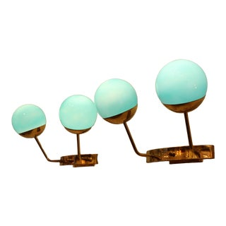 Pair of Turquoise Blue Murano Glass Sconces For Sale