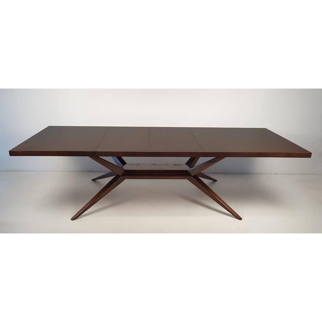 Stunning solid oak dining table by Harold Schwartz for Romweber. The parquetry work on the top is subtle but phenomenal....
