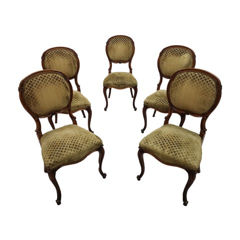 Set of 5 Vintage French Louis XV Style Carved Oak Balloon Back Dining Side Chairs For Sale - Image 13 of 13