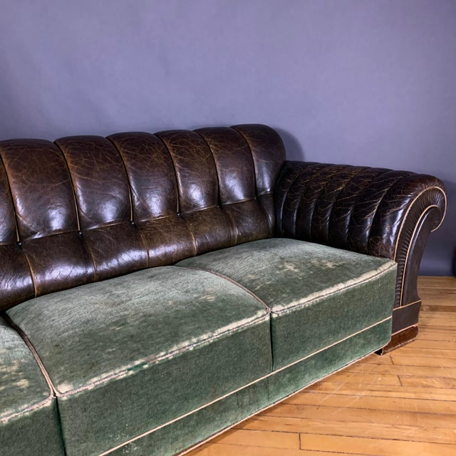 Danish 1930s Art Deco Green Leather Channeled Sofa For Sale In New York - Image 6 of 11