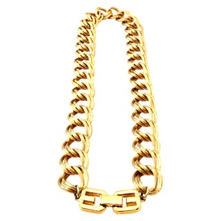 "20th Century Givenchy Gold ""Gg"" Logo Double Chain Link Choker Necklace For Sale"