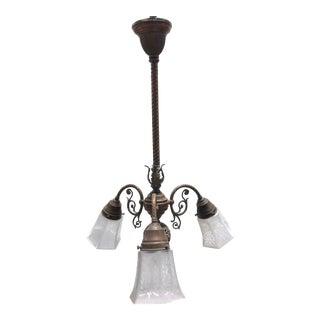 Antique Copper Art Nouveau Era 3-Light Chandelier For Sale