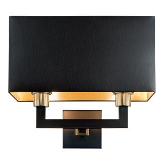 Madison Black Bronze Double Wall Light With Shade