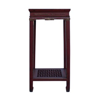 Chinese Square Red Carving Wood Pedestal Plant Stand Table